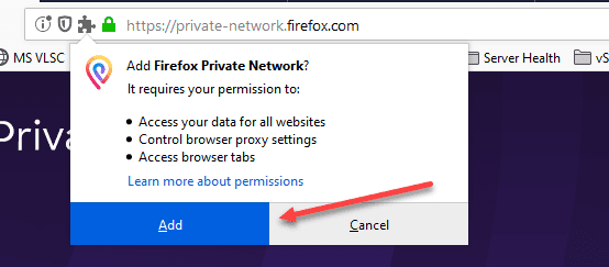 Add-the-Firefox-Private-network-to-Firefox Protect Internet Privacy Install Firefox Private Network