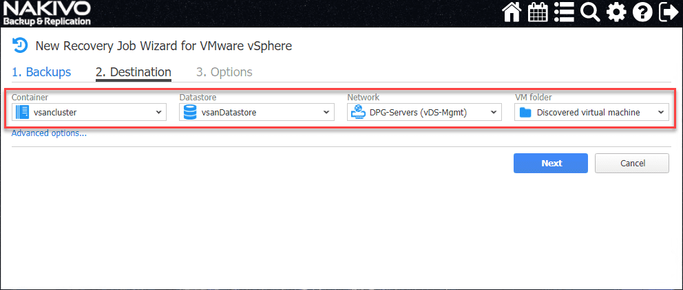 Configure-the-Destination-settings-for-the-VM-restore Recover from Ransomware with Effective Backups