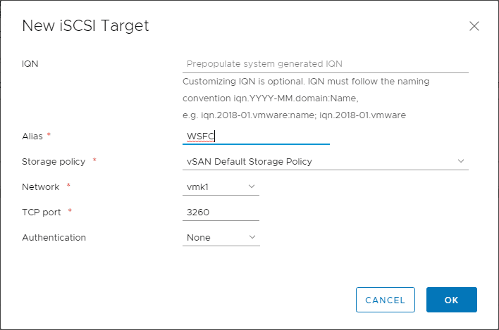 Creating-a-new-vSAN-iSCSI-target Configure VMware vSAN iSCSI for Windows Server Failover Cluster WSFC