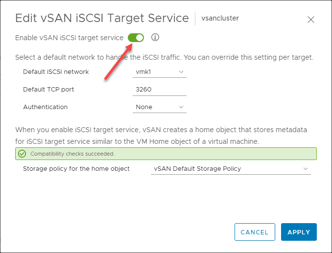 Flag-on-the-vSAN-iSCSI-target-service Configure VMware vSAN iSCSI for Windows Server Failover Cluster WSFC