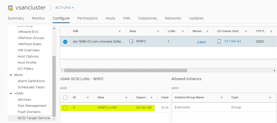 Verifying-the-new-vSAN-iSCSI-LUN-has-been-successfully-added Configure VMware vSAN iSCSI for Windows Server Failover Cluster WSFC