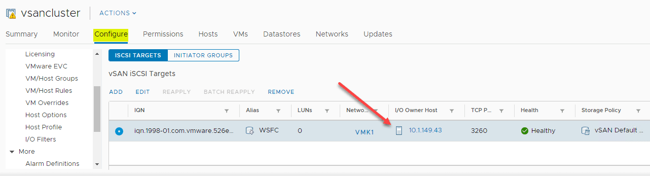 Verifying-the-new-vSAN-iSCSI-target-has-been-created Configure VMware vSAN iSCSI for Windows Server Failover Cluster WSFC
