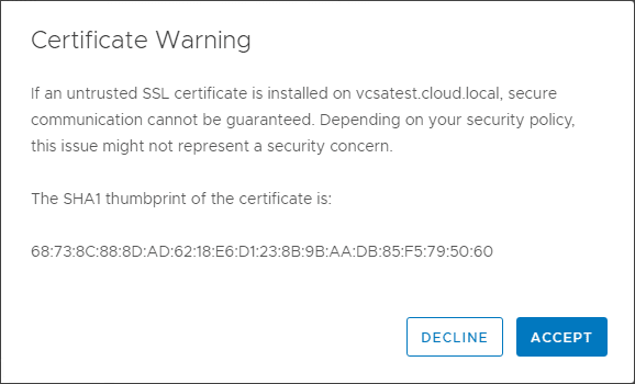 Accept-the-vCenter-Server-certificate-presented vRealize Automation 8 Install and Configuration