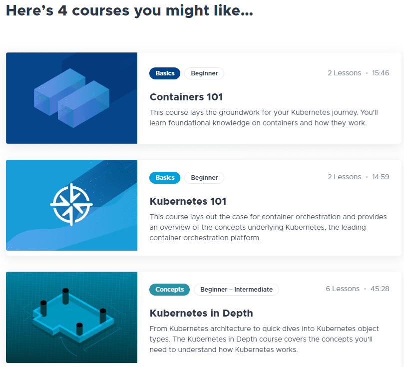 After-taking-the-Kubernetes-knowledge-assessment-recommended-courses-will-be-displayed Learning Kubernetes with VMware Kubernetes Academy Online