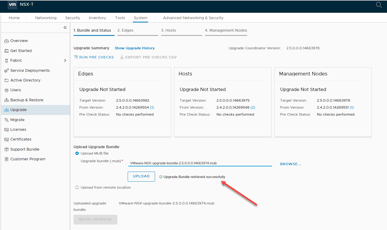 After-uploading-the-NSX-T-upgrade-bundle-again Upgrading NSX-T 2.4 to 2.5 Step-by-Step