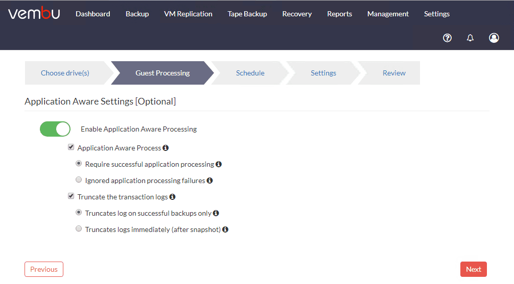 Choose-guest-processing-settings-for-application-aware-backups Physical Server Backup and P2V with Vembu
