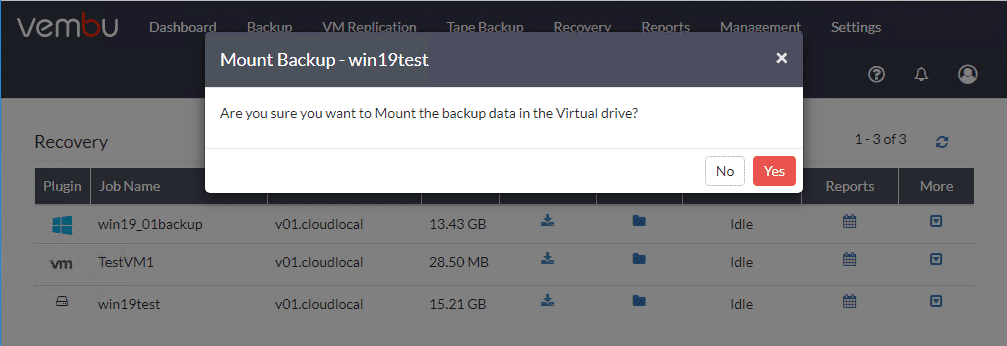 Choosing-to-mount-the-recovery-data-in-the-Vembu-virtual-drive Physical Server Backup and P2V with Vembu