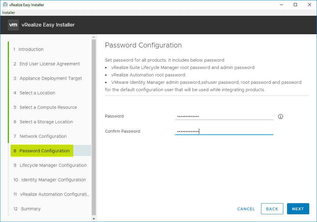 Configure-the-password-for-the-deployed-appliances vRealize Automation 8 Install and Configuration