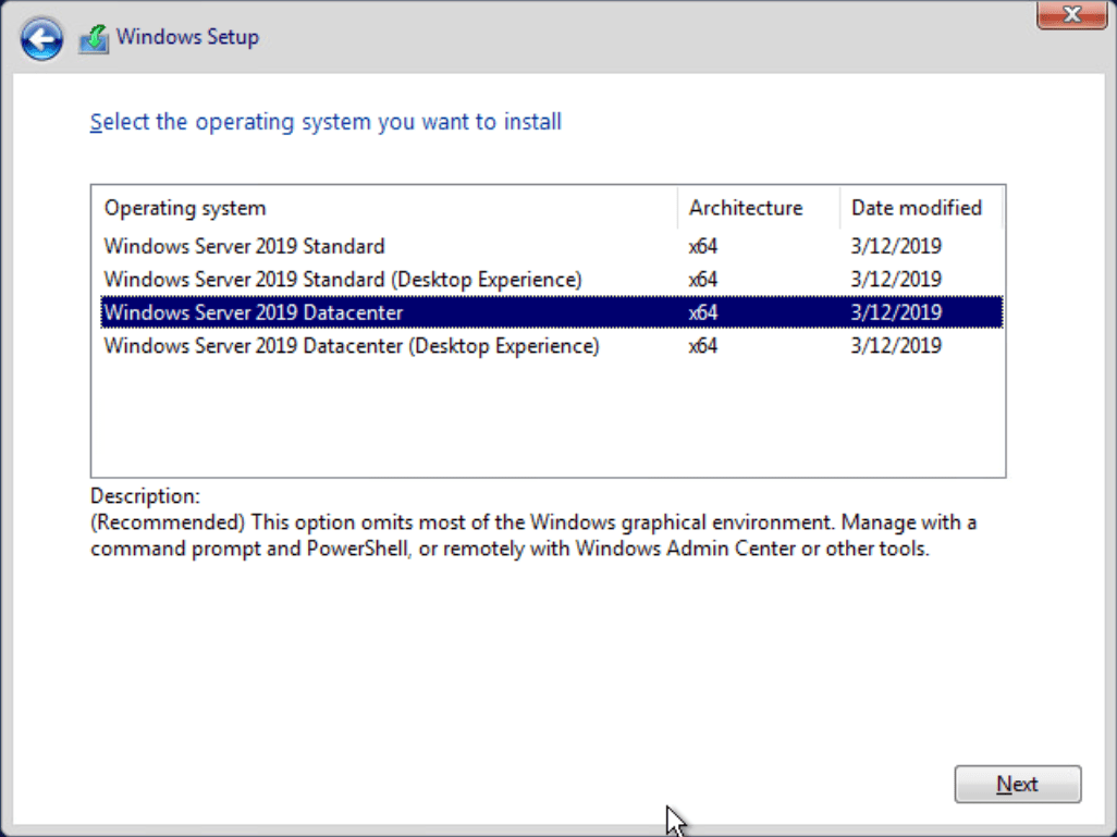 Installing-Windows-Server-2019-Core-without-the-Desktop-experience Managing Windows Server 2019 Core with Windows Admin Center