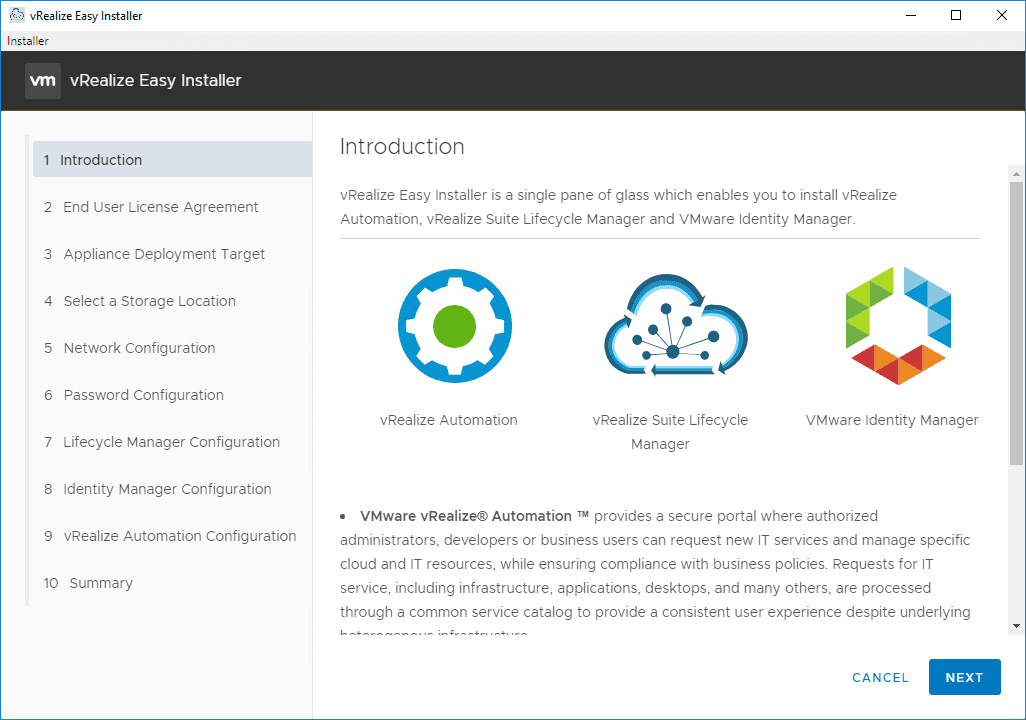 Introduction-screen-on-the-Easy-Installer-for-vRealize-Automation-8 vRealize Automation 8 Install and Configuration