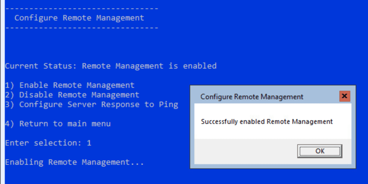 Successfully-enabled-remote-management-using-sconfig Managing Windows Server 2019 Core with Windows Admin Center