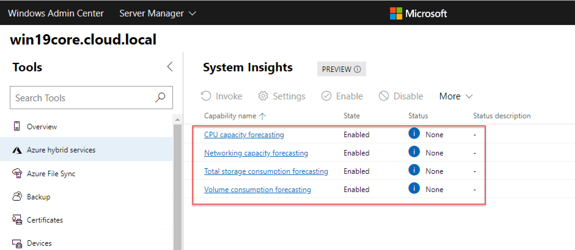 System-Insights-information-gathering-for-Windows-Server-2019-Core Managing Windows Server 2019 Core with Windows Admin Center