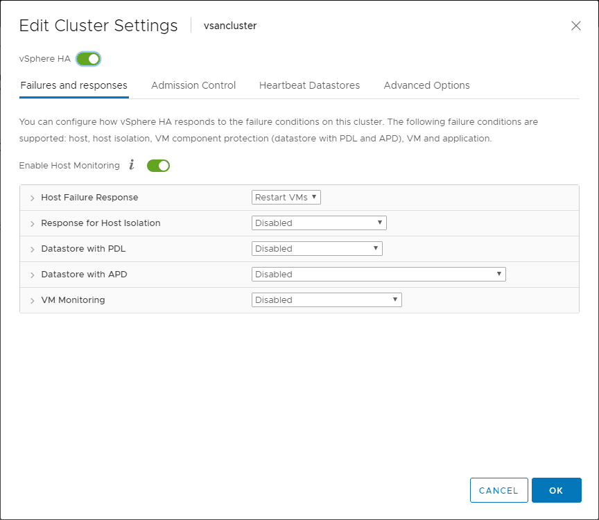 Turning-on-vSphere-HA-for-a-vSphere-cluster Network Best Practices for vSphere HA High Availability Clusters