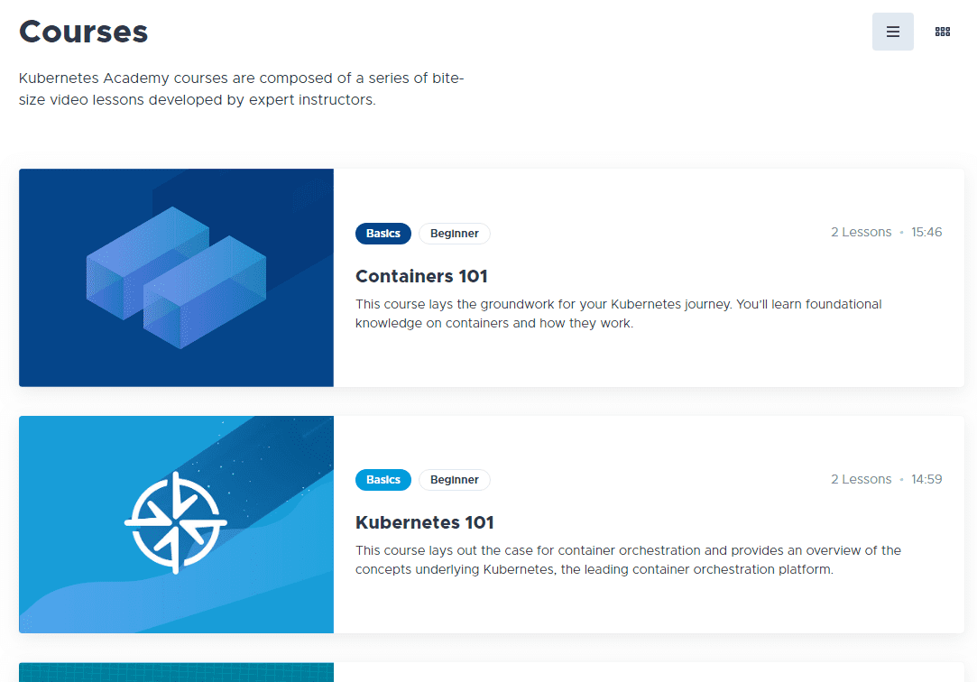 Under-courses-you-can-view-the-available-courses-on-the-Kubernetes-Academy-site Learning Kubernetes with VMware Kubernetes Academy Online