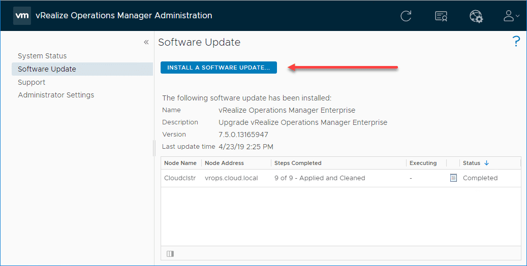 Beginning-the-process-to-upload-the-new-PAK-file-for-vRealize-Operations-Manager-8.0 Upgrade to VMware vRealize Operations Manager vROPs 8.0