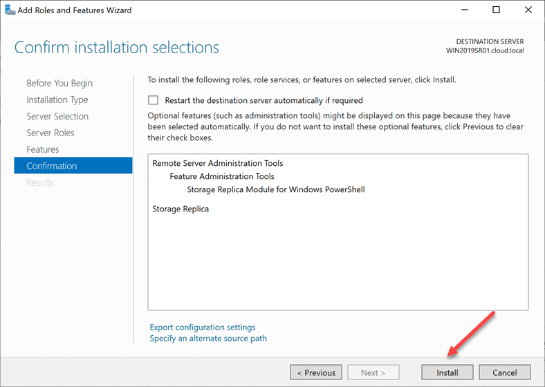 Confirming-the-install-of-Storage-Replica Storage Replica in Windows Server 2019 Features and Configuration