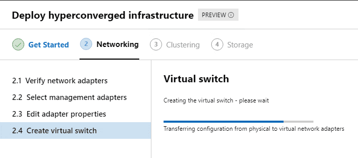 Creation-of-virtual-switch-begins-on-the-new-HCI-cluster Azure Stack HCI Deployment with New Cluster Creation Extension