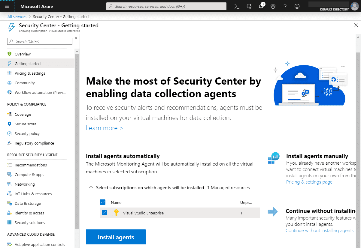 Enabling-Azure-Security-Center-Data-Collection-Agents Azure VM Security Best Practices
