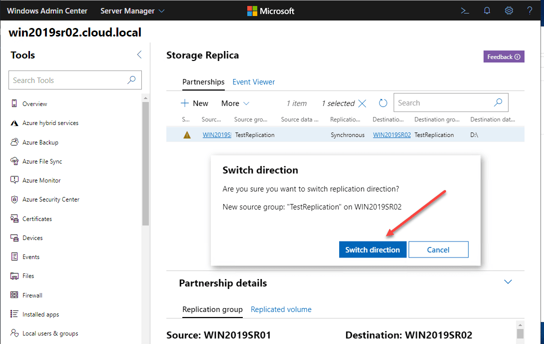 Initiating-the-switch-direction-function-in-Windows-Admin-Center-to-the-destination-Storage-Replica-server Windows Server 2019 Storage Replica Failover Process