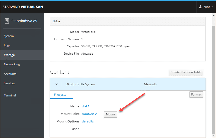 Mount-the-newly-formatted-disk StarWind VSAN for vSphere Virtual Appliances
