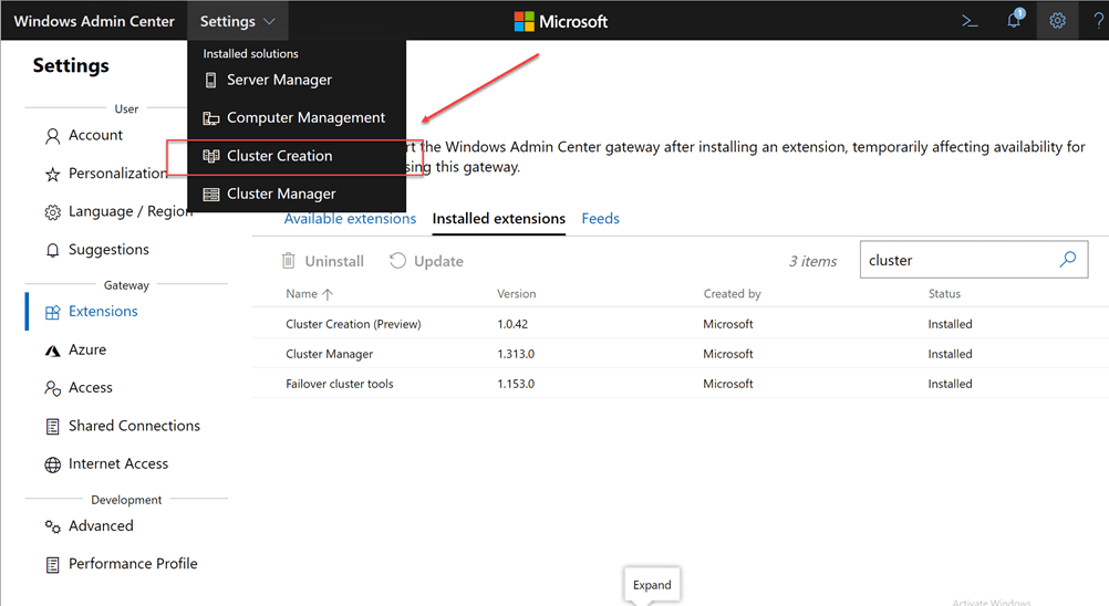 New-Cluster-Creation-menu-option-is-now-available-under-Settings-in-Windows-Admin-Center Azure Stack HCI Deployment with New Cluster Creation Extension