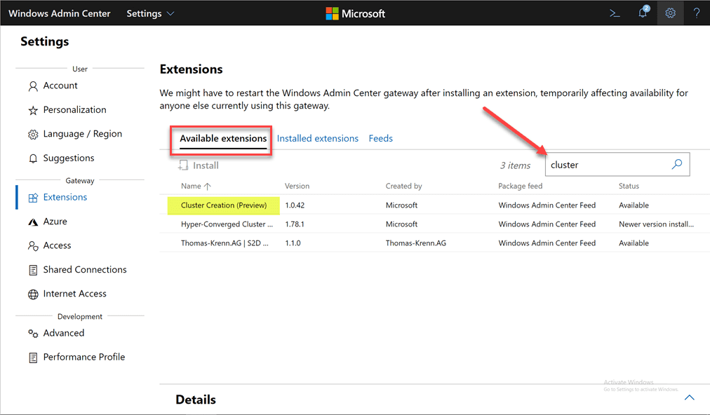 Search-for-and-install-the-Cluster-Creation-extension-in-Windows-Admin-Center Azure Stack HCI Deployment with New Cluster Creation Extension