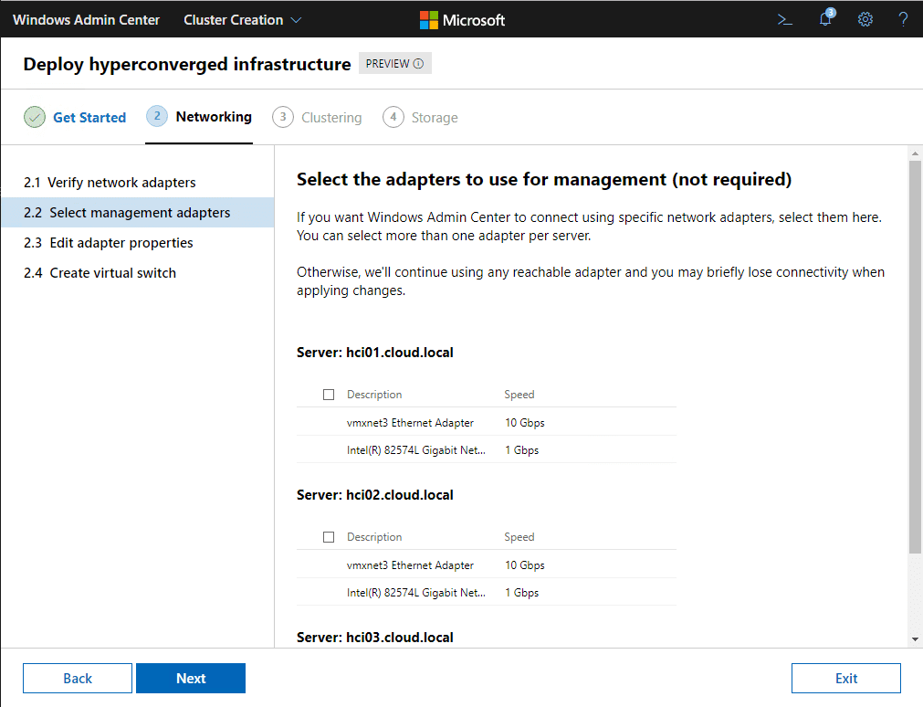 Select-management-network-adapters-for-each-Hyper-V-host Azure Stack HCI Deployment with New Cluster Creation Extension
