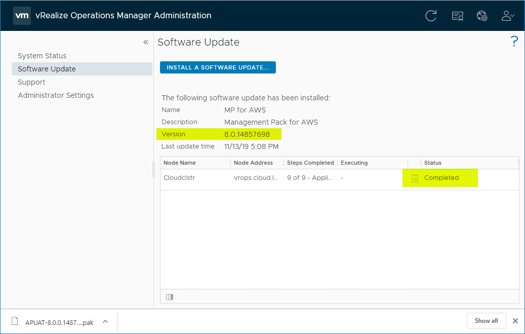 Upgrade-to-vRealize-Operations-Manager-8.0-completed-successfully Upgrade to VMware vRealize Operations Manager vROPs 8.0