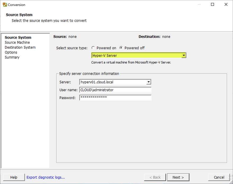 Using-VMware-Converter-to-convert-powered-off-Hyper-V-virtual-machines Free Tools to Convert VHD to VMDK and Vice Versa