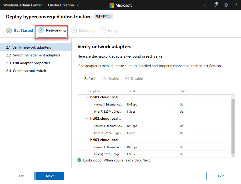 Verify-network-adapters-for-the-HCI-cluster-implementation Azure Stack HCI Deployment with New Cluster Creation Extension