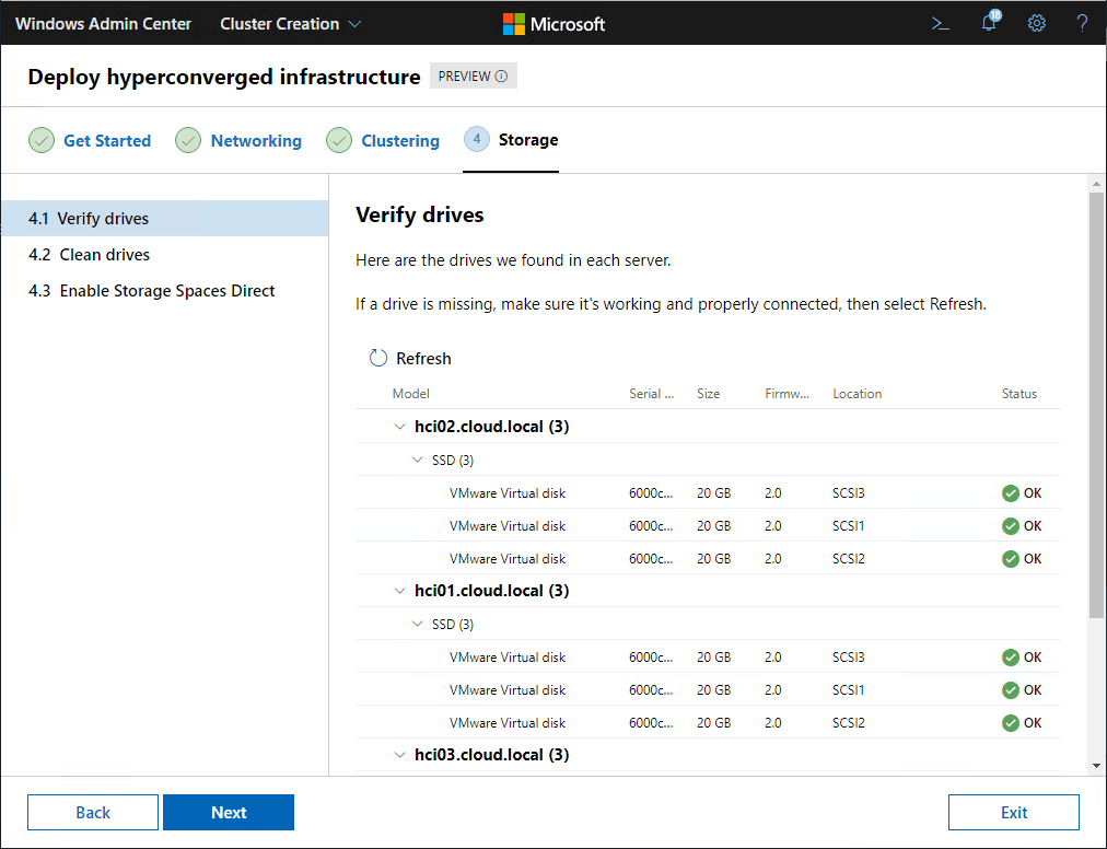 Verify-the-drives-in-your-cluster-hosts Azure Stack HCI Deployment with New Cluster Creation Extension