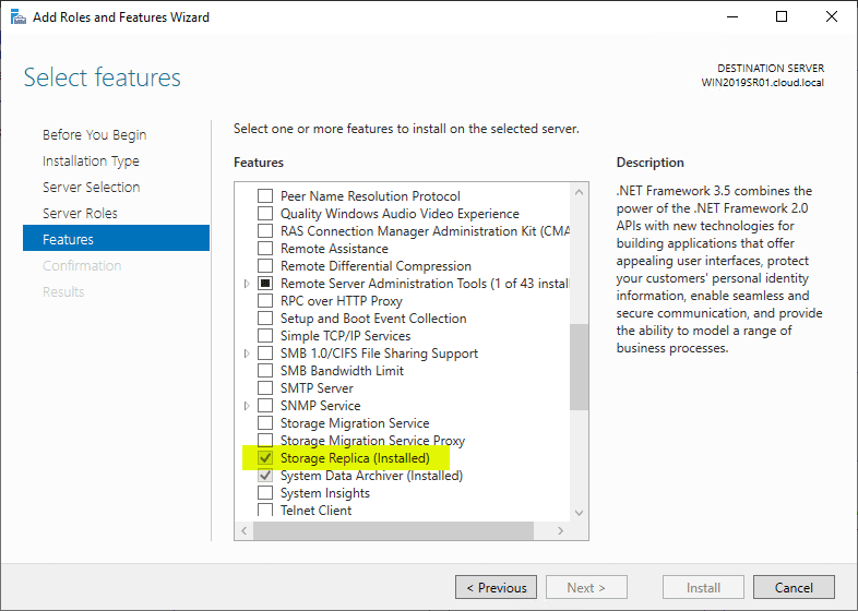 Verifying-Storage-Replica-has-been-installed-in-Windows-Server-2019 Storage Replica in Windows Server 2019 Features and Configuration