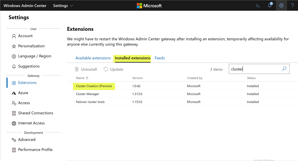 Verifying-the-Cluster-Creation-extension-is-now-installed Azure Stack HCI Deployment with New Cluster Creation Extension