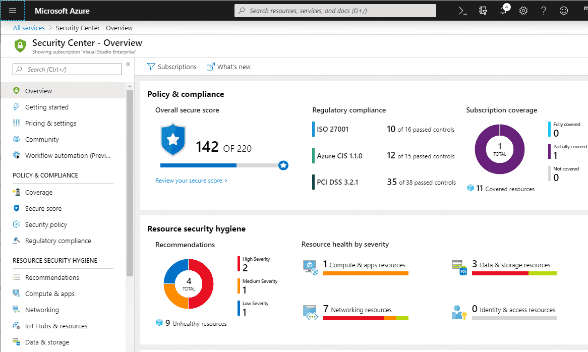 Viewing-the-Azure-Security-Center-Secure-Score Azure VM Security Best Practices