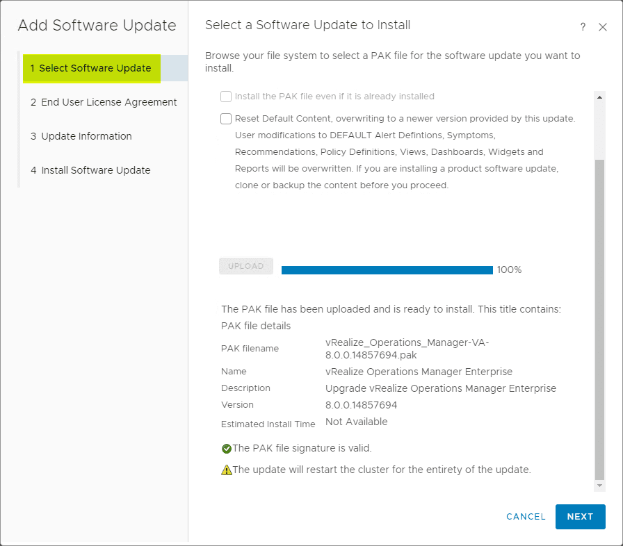 vRealize-Operations-Manager-8.0-Update-PAK-file-successfully-uploaded Upgrade to VMware vRealize Operations Manager vROPs 8.0