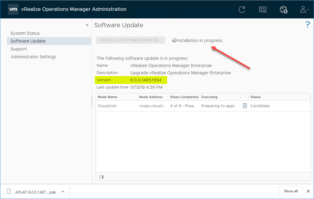 vRealize-Operations-Manager-8.0-upgrade-process-begins Upgrade to VMware vRealize Operations Manager vROPs 8.0