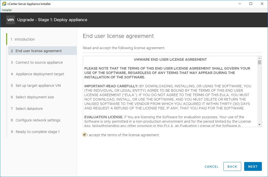 Accepting-the-EULA-for-the-vCenter-server-Appliance-6.7-installer