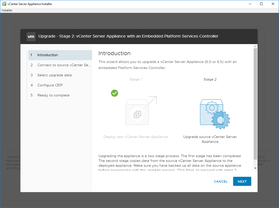 Beginning-Stage-2-of-the-vSphere-6.0-to-6.7-upgrade-process Upgrade vSphere 6.0 to 6.7 - vCenter Server VCSA