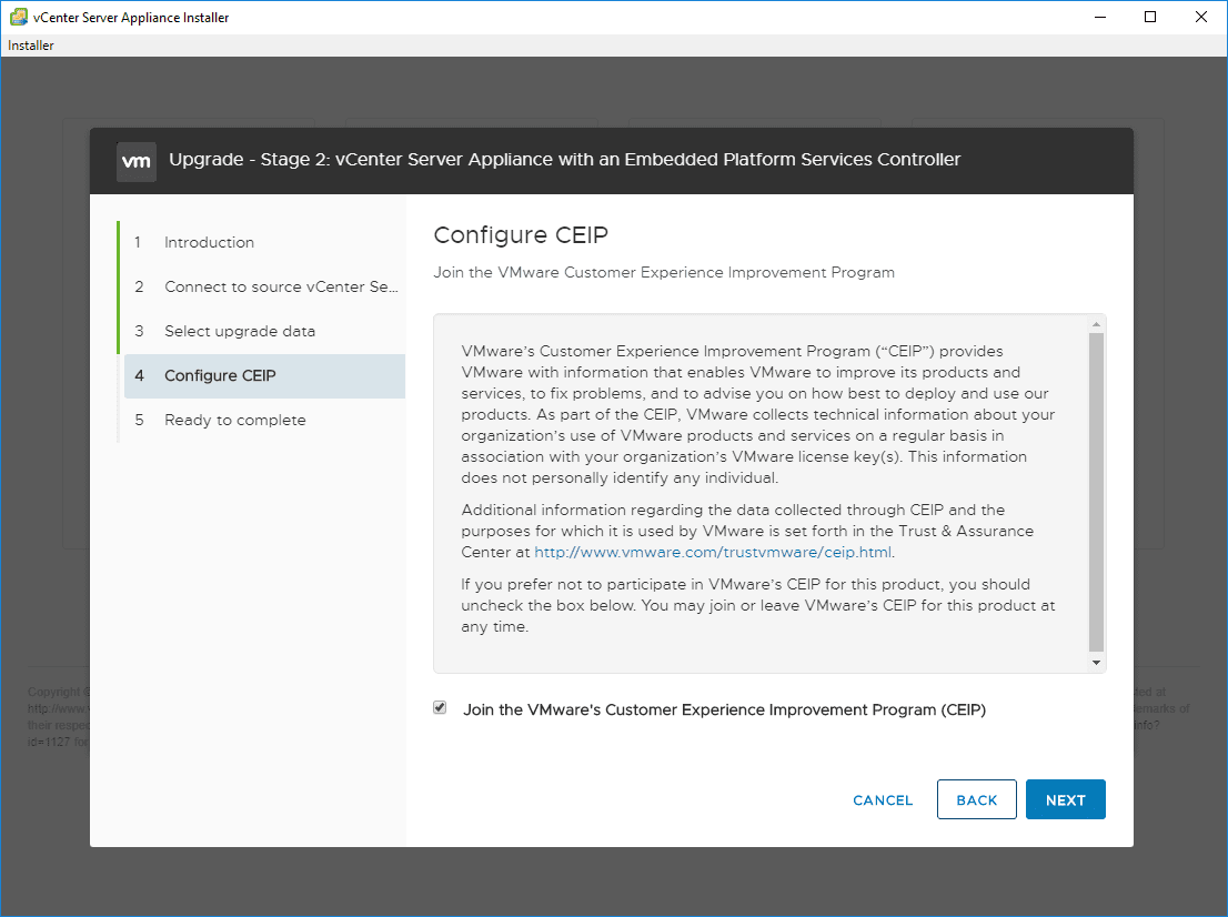 Choose-CEIP-options-for-feedback-to-VMware Upgrade vSphere 6.0 to 6.7 - vCenter Server VCSA