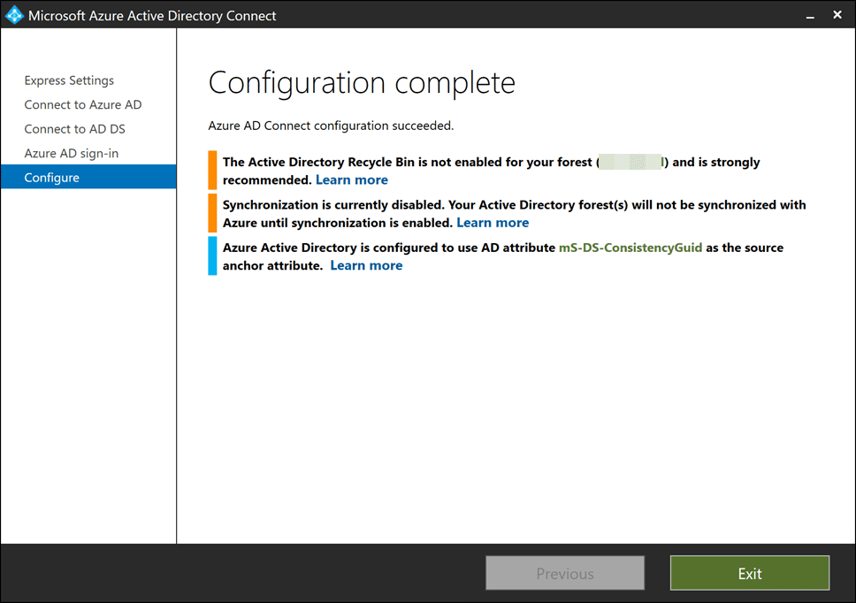 Configuration-of-Azure-AD-Connect-completed Sync On-Premises AD with Azure AD using Azure AD Connect