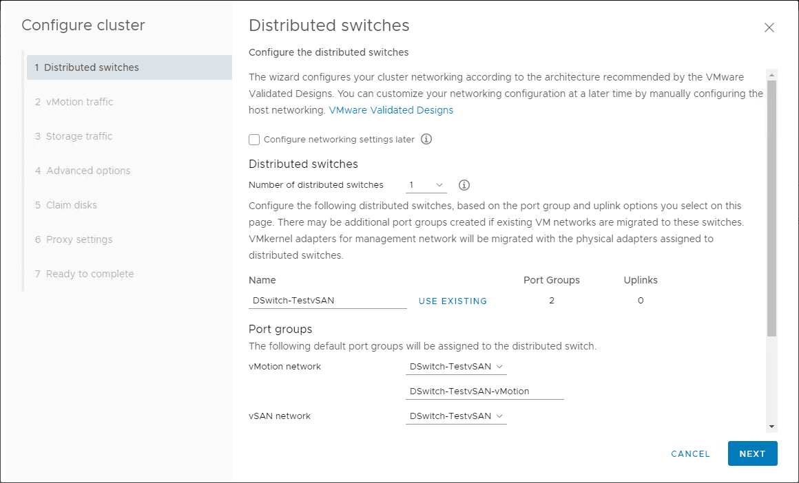 Configure-cluster-wizard-begins-with-network-configuration How to Install VMware vSAN
