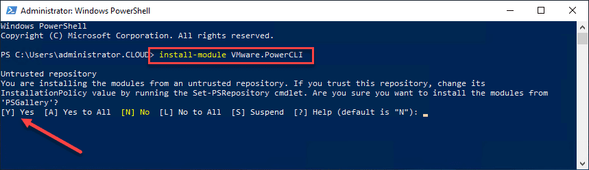 Install-VMware-PowerCLI-using-PowerShell-prompt VMware PowerCLI Download and Install Connect to vCenter