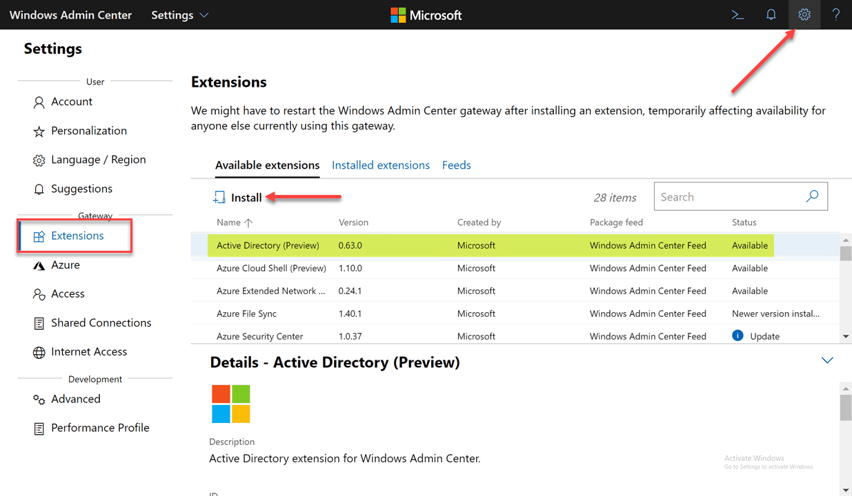 Installing-the-Windows-Admin-Center-Active-Directory-extension