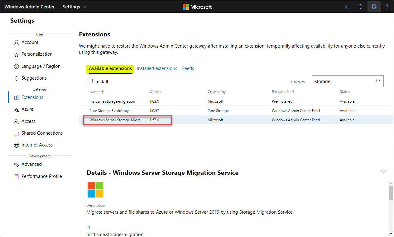 Installing-the-Windows-Server-Storage-Migration-Service-extension-in-Wndows-Admin-Center Migrate Windows Server 2008 R2 to 2019 with Storage Migration