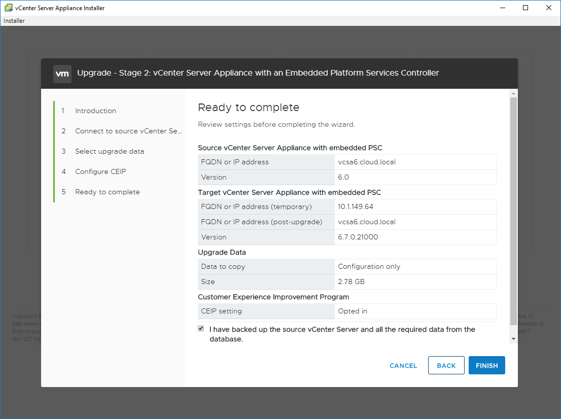 Ready-to-complete-the-Stage-2-configuration Upgrade vSphere 6.0 to 6.7 - vCenter Server VCSA