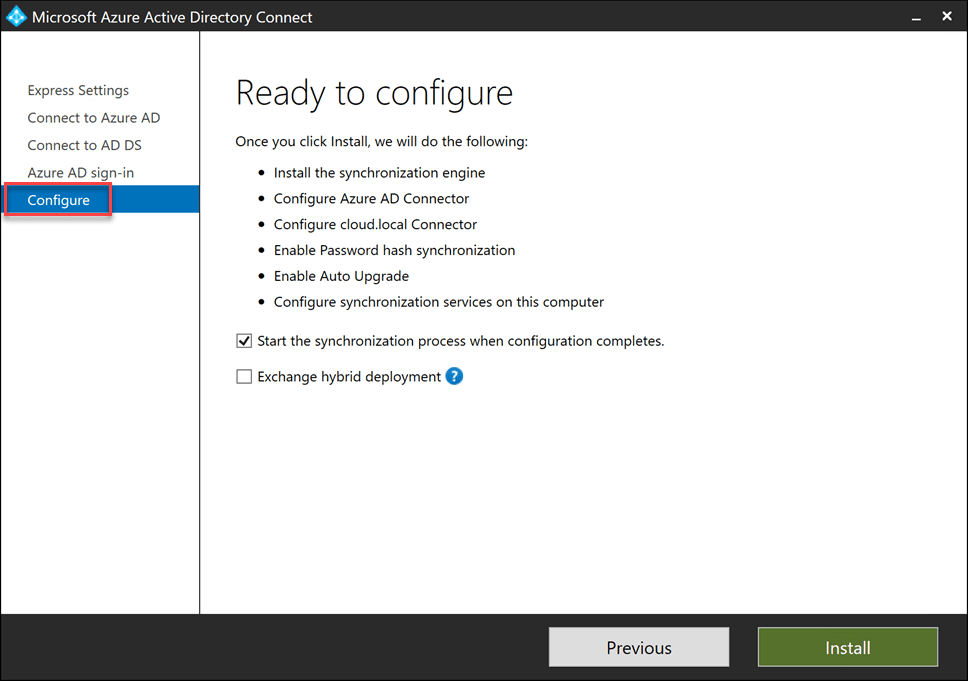 Ready-to-configure-Azure-AD-Connect Sync On-Premises AD with Azure AD using Azure AD Connect
