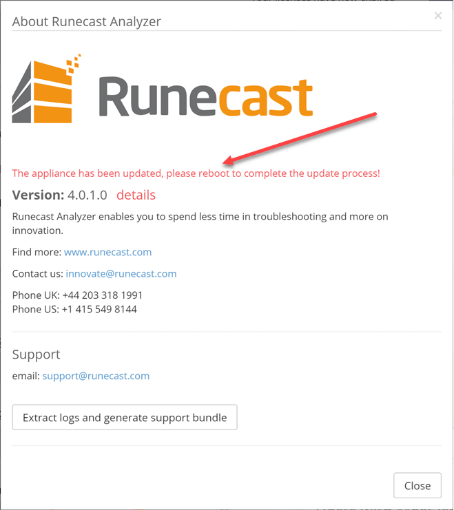 Runecast-Analyzer-appliance-automatically-updates-to-4.0-and-prompts-for-a-reboot Runecast 4.0 Released with AWS Analysis