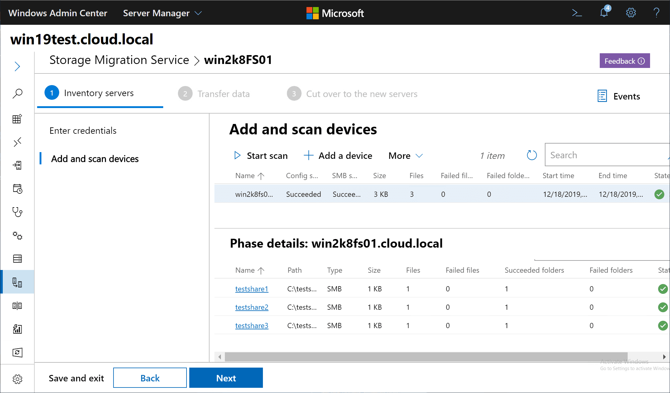 Scan-finishes-and-shares-are-discovered-on-the-Windows-Server-2008-server Migrate Windows Server 2008 R2 to 2019 with Storage Migration