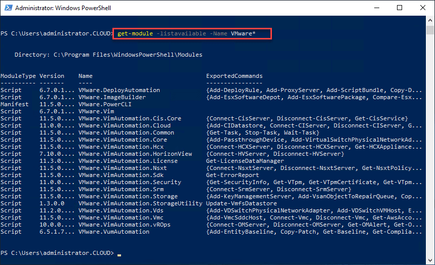 See-which-PowerCLI-modules-you-have-installed-on-your-system VMware PowerCLI Download and Install Connect to vCenter