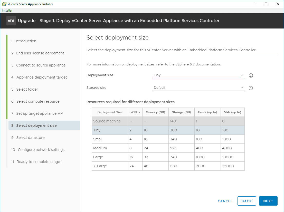 Select-deployment-size-for-the-VCSA-6.7-appliance Upgrade vSphere 6.0 to 6.7 - vCenter Server VCSA